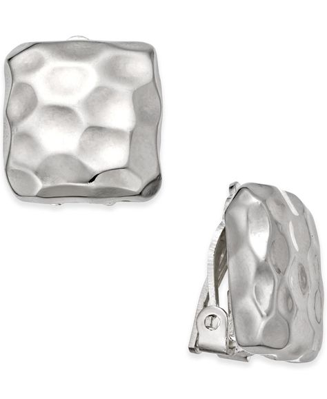 Charter Club Silver Tone Hammered Square Clip On Earrings Only At
