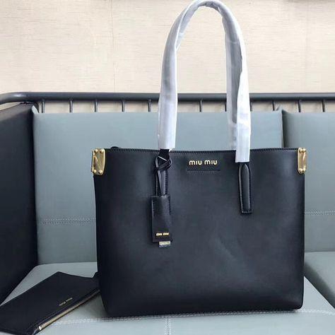 Miu Miu Calfskin Tote Bag with Top Handle Black   Miu Miu Bags ... e14f0a360c