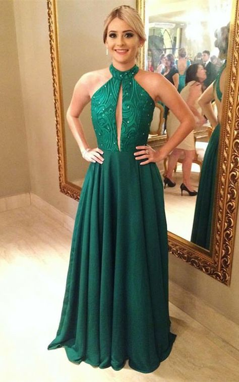 a1dd67f775d04 elegant green chiffon prom dress with sequins, fashion halter green party  dress with keyhole, beautiful sleeves evening dress with open back