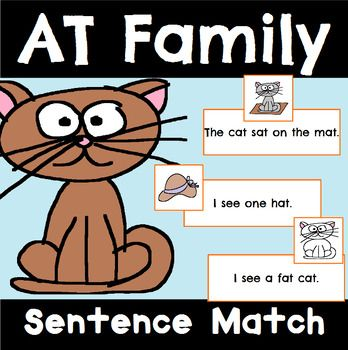 At Family Sentence And Picture Sort And Match For Practicing Reading Fluency With At Words Wordfamilies Reading Reading Fluency Tpt Lessons Word Families