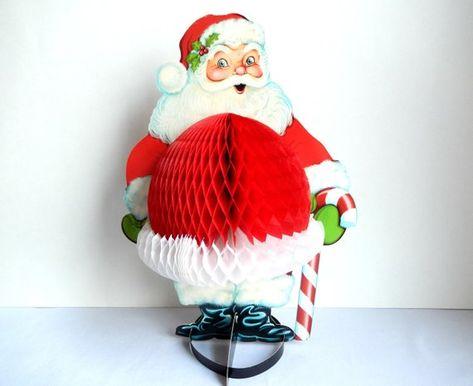 "NEW 11/"" BEISTLE SANTA CLAUS WITH TISSUE CHRISTMAS TREE CENTERPIECE"