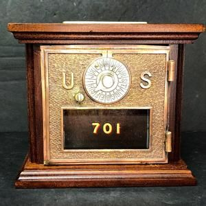 Antique Us Post Office Box Door Coin Bank Mahogany Circa 1960 Etsy Antiques Coin Bank Old Doors