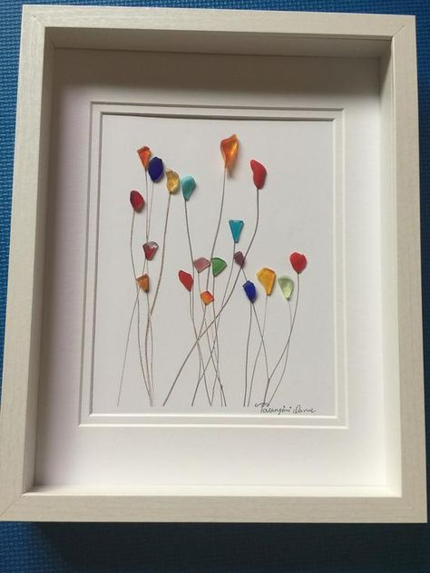 """Flowers"" this lovely colorful sea glass art framed by me in 11x14 white shadow box as shown. Thanks for your interest"