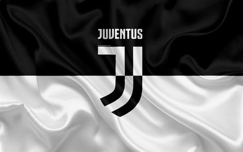 Download wallpapers 4k, Juventus, Italy, black and white, football club, Serie A, new Juventus emblem, silk flag