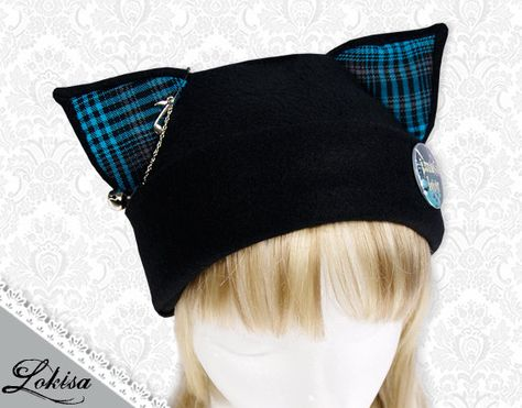Cat Kitty Plaid Fleece Hat  Anime Cosplay Punk por LokisaFashion