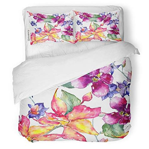 Sanchic Duvet Cover Set Wildflower Orchid Flower Pattern In Watercolor Full Name Decorative Bedding Set With Pillow Sh Bed Decor Duvet Cover Sets Bed