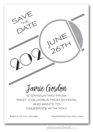 Art Deco Silver Graduation Save The Date Cards Graduation Invitation Design Graduation Invitations Template Save The Date Cards