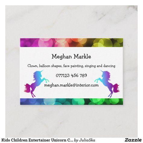 Kids Children Entertainer Unicorn Color Rainbow Business Card