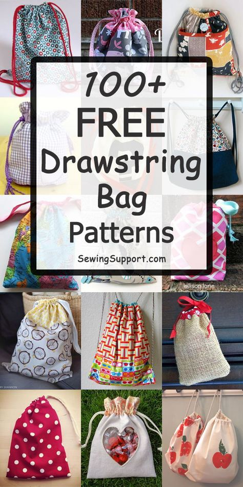 Over 100 Free Drawstring Bag sewing patterns, tutorials, and diy projects. Fun i… Sponsored Sponsored Over 100 Free Drawstring Bag Drawstring Bag Pattern, Drawstring Bag Tutorials, Backpack Pattern, Drawstring Bags, Drawstring Backpack Tutorial, Bag Patterns To Sew, Sewing Patterns Free, Free Sewing, Free Pattern