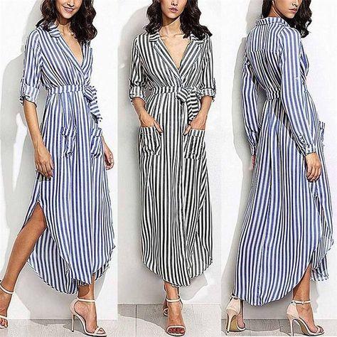 Striped Shirt Dress Women Casual Long Sleeve Office Ladies High Waist Turn-Down Collar Long Dresses For Female vestir robe