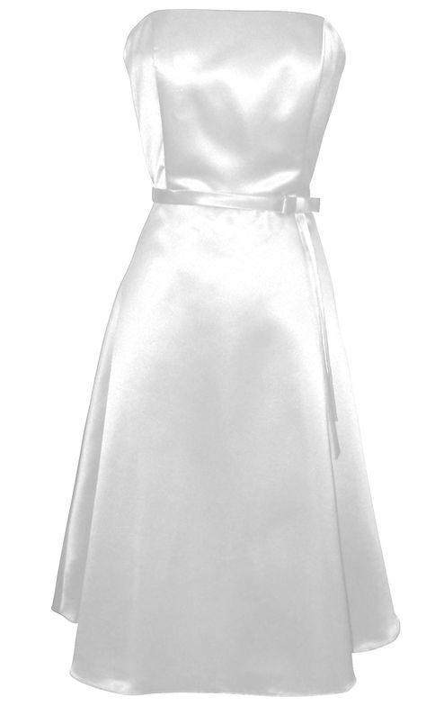 50s Strapless Satin Formal Bridesmaid Prom Dress | Junior Plus Size Prom Dresses