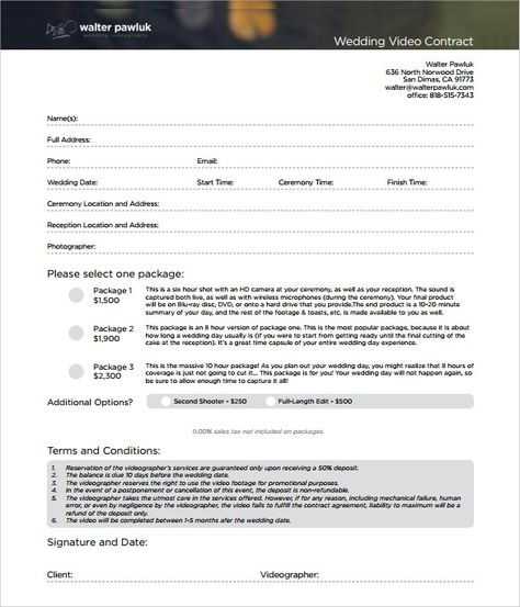 videography contract template PDF photography Pinterest - catering contract templates