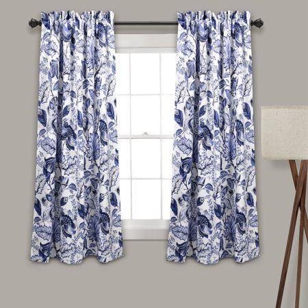 Lush Decor Cynthia Jacobean Room Darkening 63 X 52 2 Header Floral Blue 100 Polyester 3 Rod Pocket Pair Window Panel Walmart Com Panel Curtains Floral Room Curtains