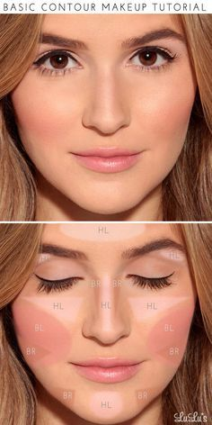"""Start by applying a light foundation in the areas labeled """"HL"""" to add highlights. Fill in the areas marked """"BR"""" with a darker foundation (about 2 shades darker than your skin) to act as your bronzer. Finish off by applying blush in the area of the cheekbone marked """"BL"""" and—voilà!—a perfect makeup look for any special occasion!:"""