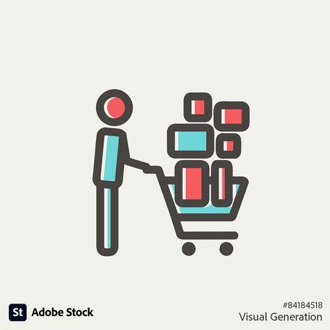 Icon of someone pushing full shopping cart