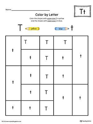 Uppercase Letter T Color By Letter Worksheet Printable Alphabet Worksheets Alphabet Worksheets Letter Worksheets