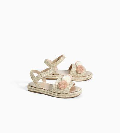 Imagen 2 De Sandalia Yute Pompones De Zara Calzado Niños Zapatos Para Niñas Zapatillas De Niñas
