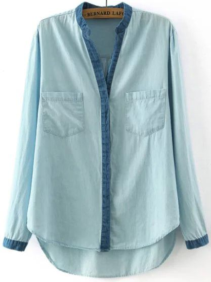 Blue Stand Collar Contrast Trims Boyfriend Trends Jean Swish Pockets Blouse