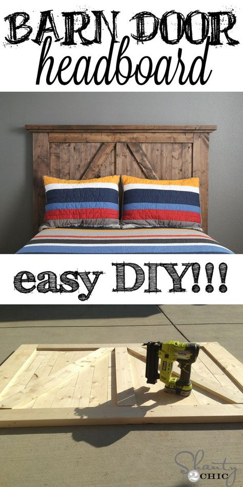 Super EASY Barn Door Style Headboard! Click for simple instructions. I love this bed :).