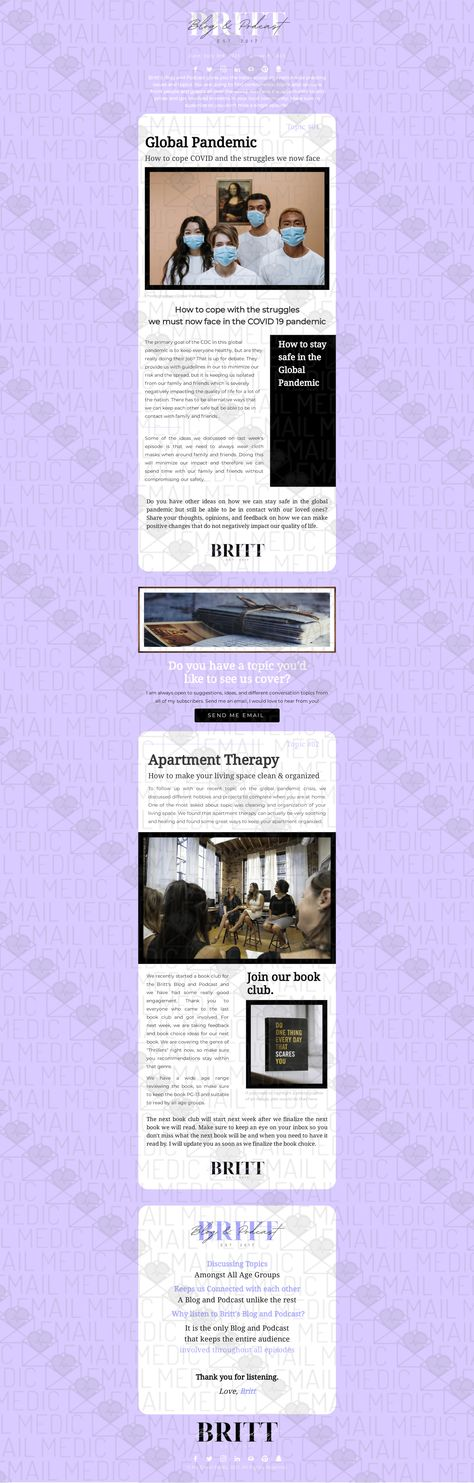Blog & Podcast Template (3 Color Variations Available) - Baby Purple Template with Logo Insertion