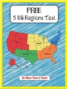 FREE- 5 US Regions Map Test | Social Stus | 3rd grade social ... on