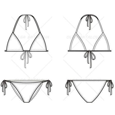 Women's Triangle Bikini Fashion Flat Template - Ana Paula Cardoso - Image Sharing World