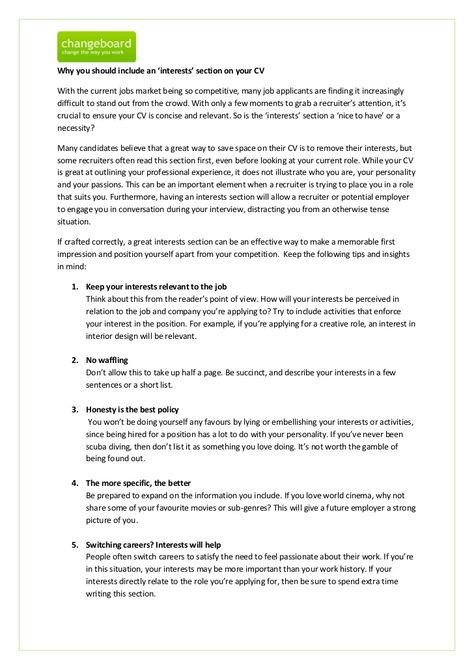 examples of hobbies to put on a resume download good things to