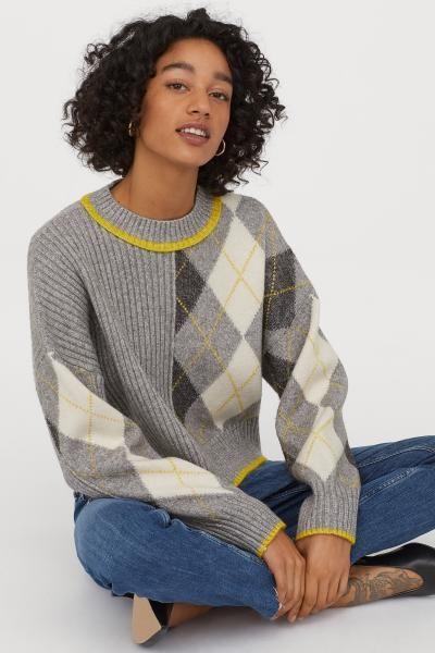 Jacquard-knit Sweater - Gray melange/argyle - Ladies | H&M US 2