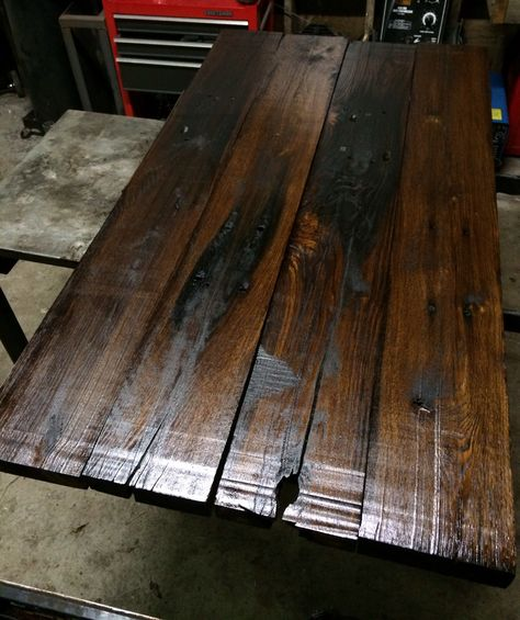 Table Top Made From Old Railroad Ties These Were Milled Then Planed Down To Expose Beautiful Oak Nashville Reclaimed Pinterest Railroad Ties Milling A