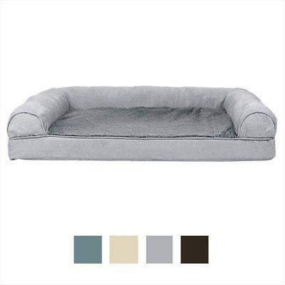 Furhaven Plush Suede Orthopedic Sofa Cat Dog Bed Espresso Jumbo Plus Chewy Com Pet Sofa Bed Plush Sofa Dog Sofa