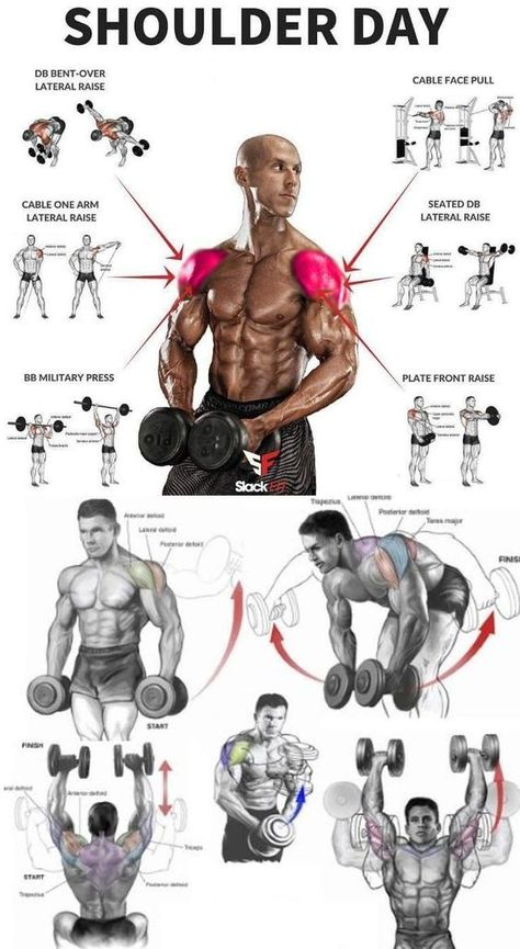 Shoulder Workout Routine To Add Serious Size To Your Shoulders. How To Get The Most Out Of This Shoulder Workout. Fitness Workouts, Gym Workouts For Men, Weight Training Workouts, Chest Workouts, Yoga Fitness, At Home Workouts, Muscle Fitness, Health Fitness, Insanity Fitness
