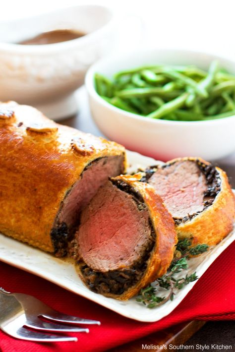 Melt in your mouth Beef Wellington is a special dish for a special occasion #beef #beefwellington #puffpastry #puffpastryrecipes #beefrecipes #beeftenderloin #Christmasdinner #newyearseve #dinnerideas #dinner #southernfood #southernrecipes #mushrooms #puffpastry