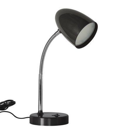 Mainstays Led Desk Lamp Flexible Metal Gooseneck Black Walmart Com Desk Lamp Led Desk Lamp Lamp