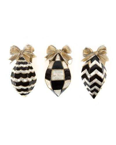 Hbhdf Mackenzie Childs Black White Teardrop Christmas Ornaments Set Of 3 68 Mackenzie Childs Christmas Ornaments Ornament Set