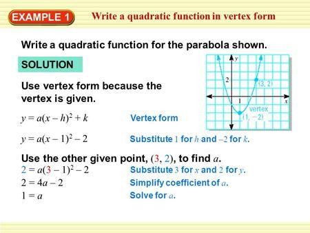 Example 1 Write A Quadratic Function In Vertex Form Write A Quadratic Function For The Parabola Shown Soluti Quadratics Quadratic Equation Quadratic Functions Quadratic function worksheets with