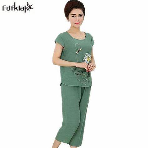81e65f588 XL-4XL Plus size women sleepwear pajamas set short-sleeved vintage print  home clothes pijama feminino summer pyjamas suit