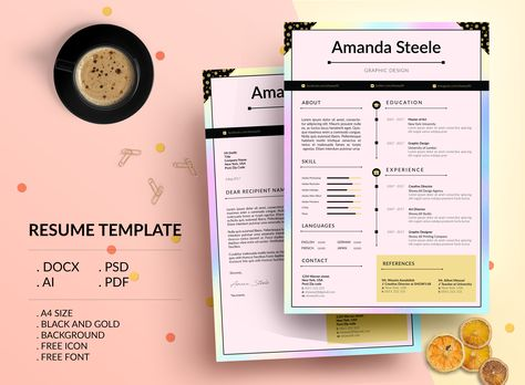 Check out my @Behance project u201cHolographic Resume Template \/ CV - resume template docx