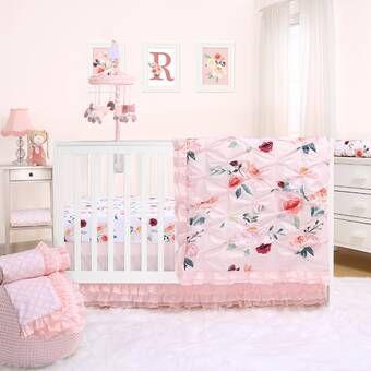 Chason 3 Piece Crib Bedding Set Rose Bedding Crib Bedding Crib Bedding Sets 3 piece crib bedding set