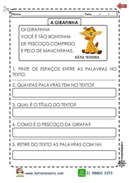 Texto A Girafinha Atividades De Alfabetizacao 1º E 2º Anos Com