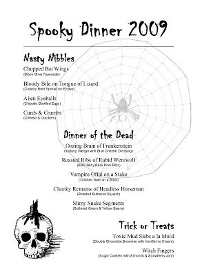 Halloween Party Menus  CityEsporaCo