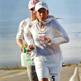 Badwater Ultramarathon, stay on the white line so your trainers don't stick to the tarmac. 135-mile race from Badwater in Death Valley (elev. 282 f…