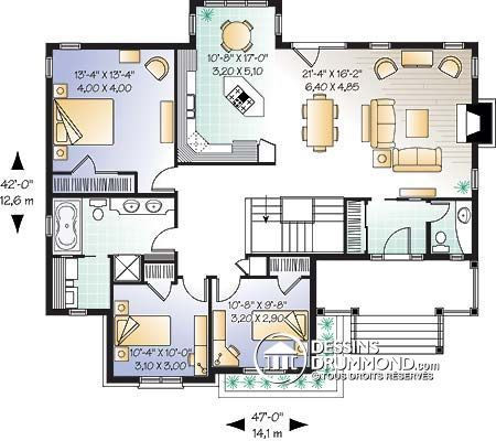 Rez-de-chaussée Maison 4 chambres garage double, bureau à domicile - plan maison en u ouvert