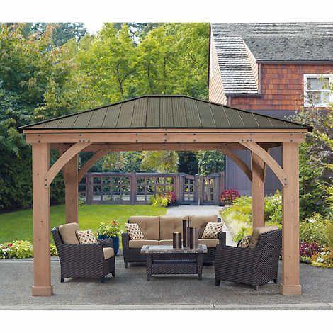 12 X 14 Cedar Gazebo With Aluminum Roof Outdoor Pergola Patio Gazebo Pergola Patio