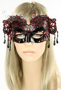 Made in USA Leather Mask Masquerade Costume Devil Ren Faire Black Red Geisha New | eBay