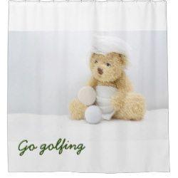 Go Golfing Bear Wears White Towel With Golf Ball Shower Curtain