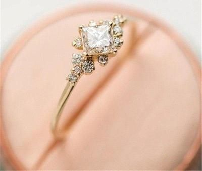 Gold Color Stackable Wedding Tiny Cut Square Rings Jewelry Cubic Zircon Crystal