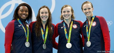 Silver medalists Simone Manuel, Abbey Weitzeil, Dana Vollmer and Kate Ledecky…