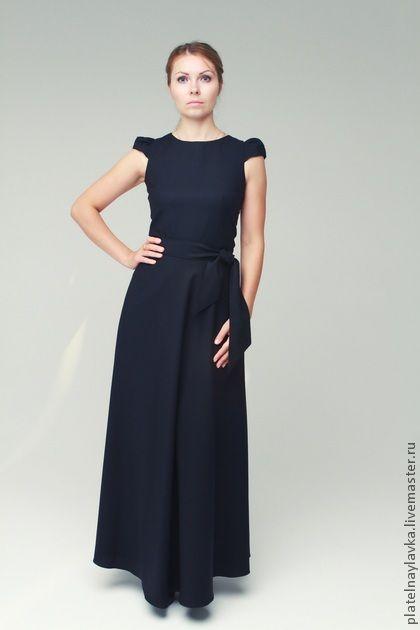 Черное платье в пол Эльза с кор рукавом - чёрный,в полоску,черное платье 4c8350d4a39