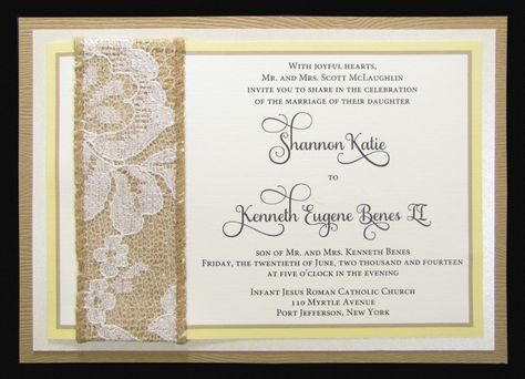 Rustic invitation with woodgrain layering and lace/burlap embellishment evenstarpaperie.com