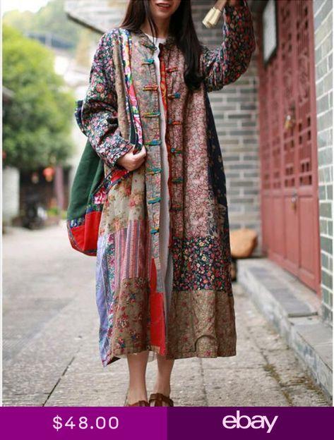 Folk Custom Womens Cotton Linen Maxi Long Sleeved Floral Loose Dress Coats New